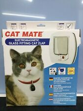 CAT MATE GLASS FITTING ELECTROMAGNETIC FLAP - WHITE. FREE POSTAGE.