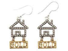 Realtor Crystal House Gold Sold Silver Wire Hook Earrings Jewelry Home Seller