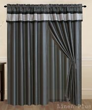 New Gray Black Curtain Panel Valance Window Covering Drapes