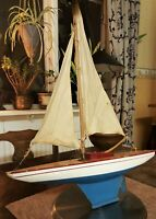 "Vintage wooden toy sailing boat / Yacht / ~40cm (16"") - Good shape!"