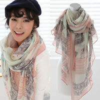 Women Chiffon Paris Eiffel Tower Printed Scarf Long Wrap Shawl Silk Scarves Gift