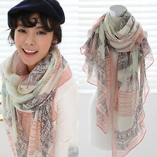 Womens Girls Chiffon Paris Eiffel Tower Scarf Long Wraps Shawl Silk Scarves Gift