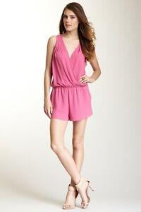 BCBG MAXAZRIA BNWT L 14 Thalia Fuchsia Pink Playsuit Lightweight Pockets New