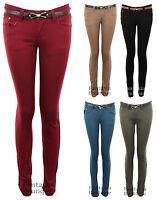 New Ladies Slim Fit Skinny Belted Coloured Denim Women's Jeans 6 8 10 12 14