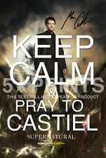 "SIGNED PP SUPERNATURAL KEEP CALM MISHA COLLINS CASTIEL 12x8"" POSTER PHOTO GIFT"