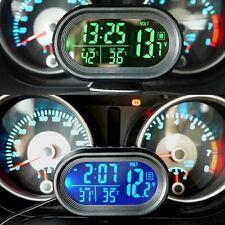 Car LCD Digital Clock In/Outdoor Temperature Thermometer Voltage Meter Voltmeter