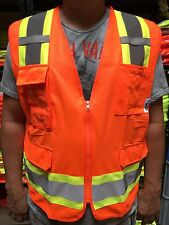 Surveyor Orange Two Tones Safety Vest Ansi Isea 107 2015 Photo Id Pocket