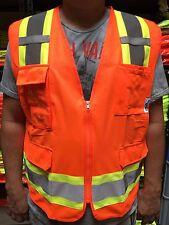 Topógrafo naranja dos tonos Chaleco de seguridad, ANSI/ISEA 107-2010/identificación con foto de bolsillo