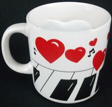 """Russ """"You Put A Song In My Heart"""" Piano Keys Hearts Coffee Cup Mug"""