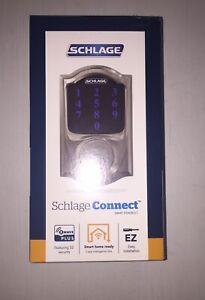 Schlage Connect Smart Deadbolt With Alarm Satin Nickel BE469ZP