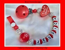 🎄Personalised 7 Letters DUMMY CLIP STRAP CHAIN 🎄MERRY CHRISTMAS🎄RED N SPARKLE