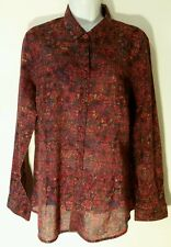 Cold Water Creek Shirt No Iron Women Button Front Cotton Floral