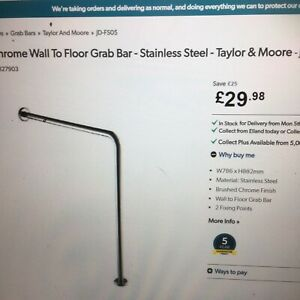 Disability Bar Support Mobility Entry Hand Grab Rail STAINLESS STEEL new