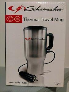 Schumacher 12V Stainless Steel Travel Mug, model #1228, brand new