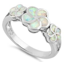 GORGEOUS! 925 Sterling Silver Plumeria White Lab Created Opal Ring Size 8 🌸