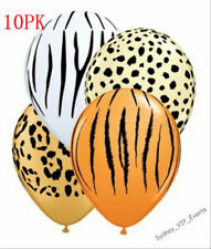 ANIMAL JUNGLE SAFARI TIGER ZEBRA LEOPARD PRINT BALLOONS PARTY X10 HELIUM QUALITY