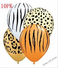 ANIMAL JUNGLE SAFARI TIGER ZEBRA LEOPARD  BALLOONS PARTY X10 USA MADE QUALATEX