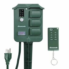 Dewenwils Outdoor Power Strip Stake Timer with Remote Waterproof Cover with 6.