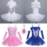 UK Kid Girl Ballet Leotard Dance Tutu Dress Swan Ballerina Gym Dancewear Costume