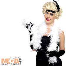 White Feather Boa Scarf Ladies Fancy Dress 1920s 20s Flapper Burlesque Costume