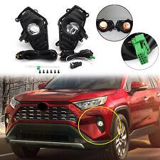 Fog Lights Bumper Driving Lamps w/ Switch + Bezel Fit Toyota RAV4 2018 2019 2020