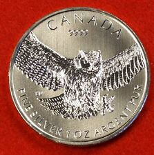 2015 CANADIAN GREAT HORNED OWL DESIGN 1 oz .999 SILVER WILDLIFE SERIES COLLECTOR
