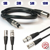 3 Pin XLR Microphone Cable Male To Female Balanced Patch Lead Mic OFC-NICKEL New