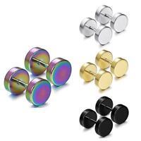Ear Nail Barbell Earring Piercing Black Stainless Steel Earrings For Men Women/