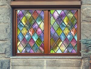 3D Color Pattern I46 Window Film Print Sticker Cling Stained Glass UV Block Amy