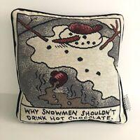 "Hallmark Shoebox Greetings Christmas Pillow 11"" x 11"" Snowman Hot Chocolate"
