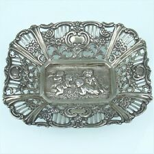 Cesta de plata con Putten relief, él 800 plata (180414)