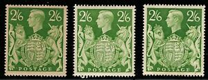 1942 KGVI 3 × SG476b 2s6d Yellow-Green Q30 MH OG CV £45