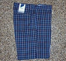 NWT Men's Izod Flat Front XFG Golf Shorts Navy Multi Plaid 40