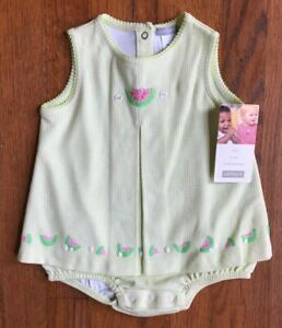 Carter's Baby Girl Romper Size 6 months green/white gingham watermelons NWT