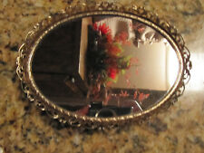 "Vintage Gold Mirrored Footed Dresser  Vanity Tray Oval  7 1/2"" X 5 1/2"""