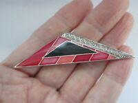 Vintage Pierre Bex  Art Deco Style Geometric Enamel Silver Tone Brooch Pin