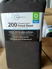 Mainstays 200 Thread Count Fitted Sheet Queen Size, black