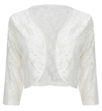 Womens Ladies 3/4 Sleeve Lace Shrug Cardigan Bolero Top Plus Sizes 16-22 20 White
