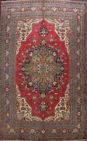Vintage Geometric Red Tebriz Traditional Area Rug Hand-Knotted Wool Carpet 9x13