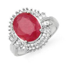 6.07 CTW Ruby & Diamond Ring 18K White Gold - REF-158M2H - 13639 Lot 4604