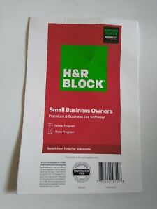 2020 H&R Block Premium & Business Tax Software Small Business Owners Fed 1 State