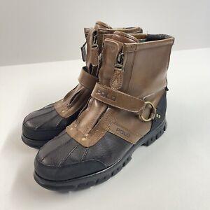 Polo Ralph Lauren Men's Conquest HI II Boots Size 9.5 D Black Brown Dual Zip