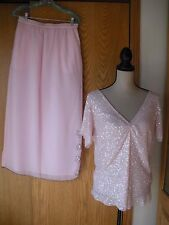 Pink beaded 2 piece dress skirt scoop back top wedding special occasion outfit M