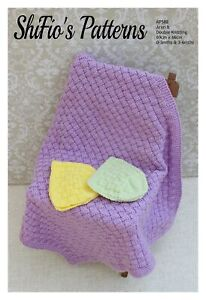 Knitting Pattern for Baby Blanket and Matching Hats, Baby Blanket Knitting Pa...