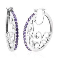 Purple Cubic Zirconia CZ Aros De Platino Aro Pendientes Joyería para mujeres 3.37 CT