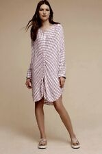NWT Anthropologie Saturday Sunday red white blue Plaid Buttonfront Tunic Dress S