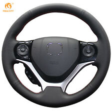 Black Artificial Leather Steering Wheel Cover Wrap for Honda Civic 2012-2014