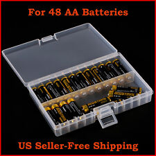 AA Battery Storage Organizer Case Holder Box Clear Plastic Holds 48 AA Batteries