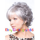 2018 New lady short silver gray mixed curly cosplay full wigs + Free wig cap