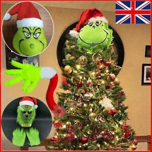 Christmas Furry Green Grinch Mask Hat Head Arm Leg Ornaments Xmas Tree Hanging